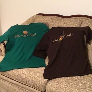 2 Quacker Factory Thanksgiving tops, sh/sleeve, SM